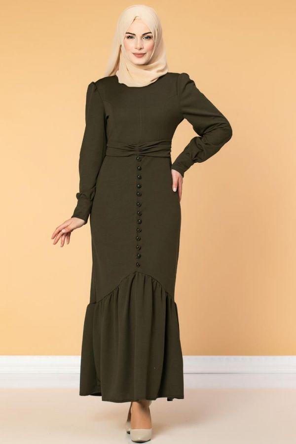 Düğme Detaylı Fırfırlı Elbise-1960 Hakiyeşil