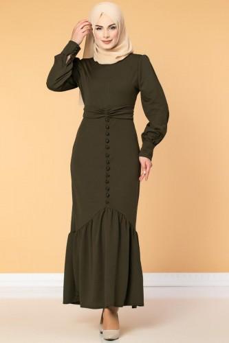 - Düğme Detaylı Fırfırlı Elbise-1960 Hakiyeşil