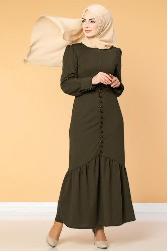 Düğme Detaylı Fırfırlı Elbise-1960 Hakiyeşil - Thumbnail