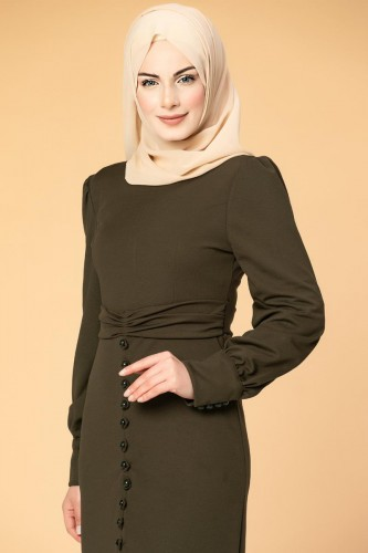 - Düğme Detaylı Fırfırlı Elbise-1960 Hakiyeşil (1)