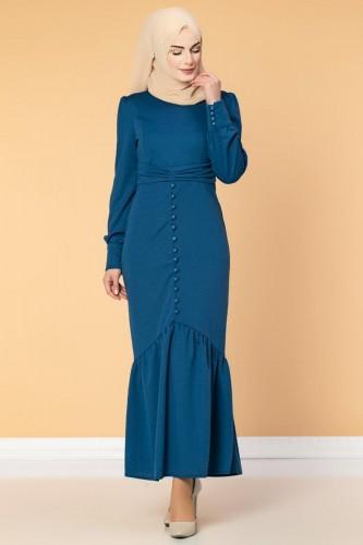 - Düğme Detaylı Fırfırlı Elbise-1960 İndigo