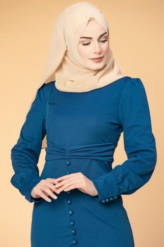 - Düğme Detaylı Fırfırlı Elbise-1960 İndigo (1)