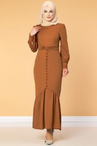 - Düğme Detaylı Fırfırlı Elbise-1960 kiremit