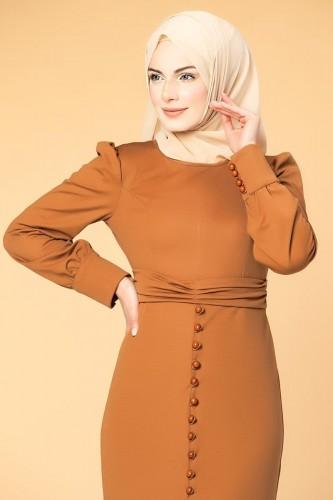 - Düğme Detaylı Fırfırlı Elbise-1960 kiremit (1)