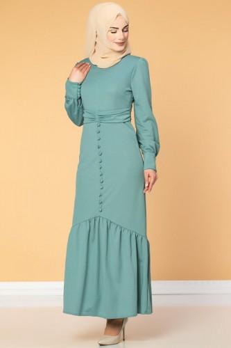 - Düğme Detaylı Fırfırlı Elbise-1960 Mint