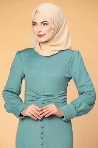 - Düğme Detaylı Fırfırlı Elbise-1960 Mint (1)