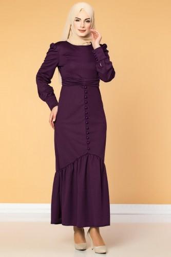 - Düğme Detaylı Fırfırlı Elbise-1960 Mor