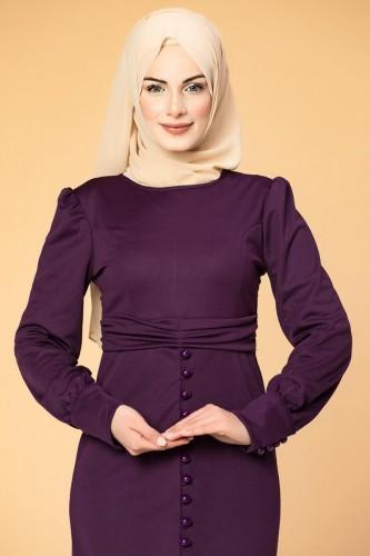- Düğme Detaylı Fırfırlı Elbise-1960 Mor (1)