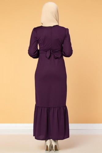 Düğme Detaylı Fırfırlı Elbise-1960 Mor - Thumbnail