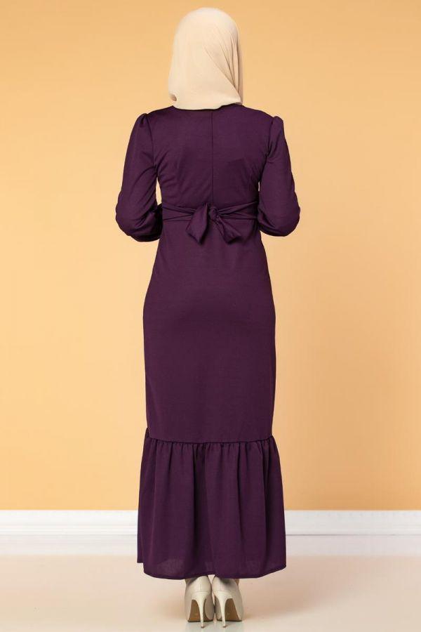 Düğme Detaylı Fırfırlı Elbise-1960 Mor