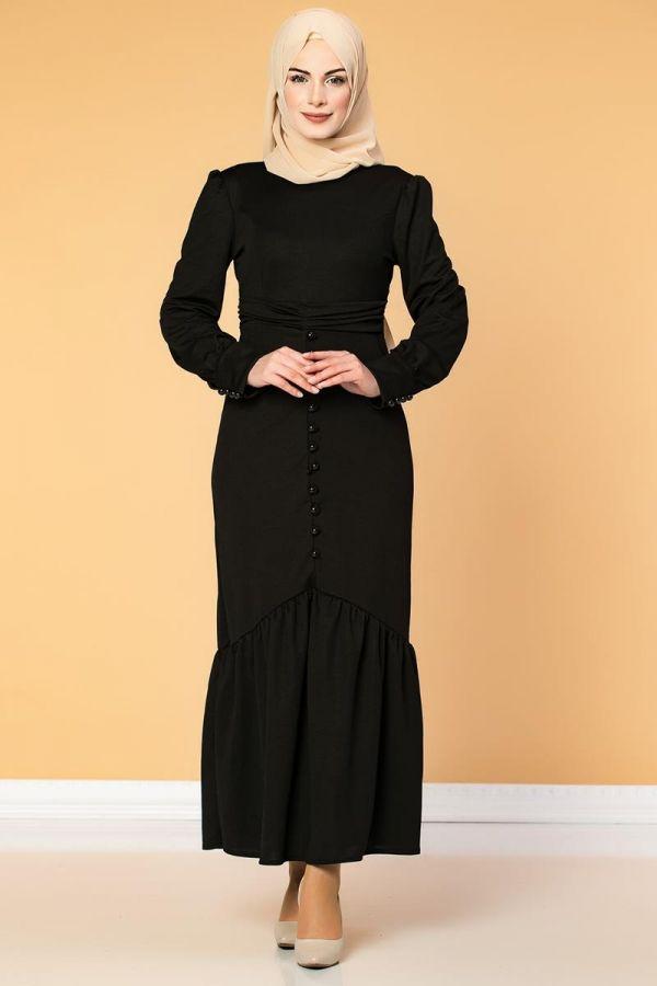 Düğme Detaylı Fırfırlı Elbise-1960 Siyah