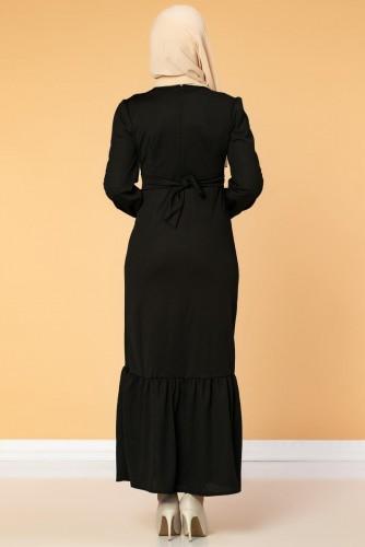 Düğme Detaylı Fırfırlı Elbise-1960 Siyah - Thumbnail