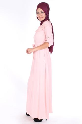 Modaebva - Ebru Dantel Detay Elbise-7062Pudra (1)