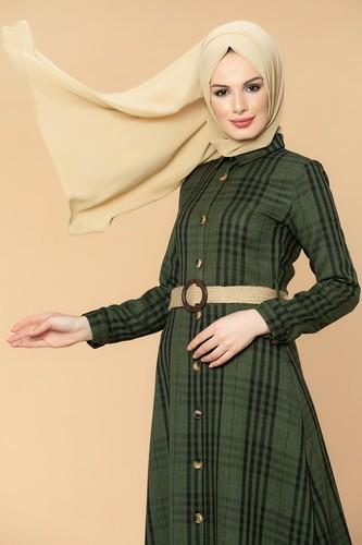 Modaebva - Ekoseli Düğmeli Tesettür Elbise-1014 Hakiyeşili (1)