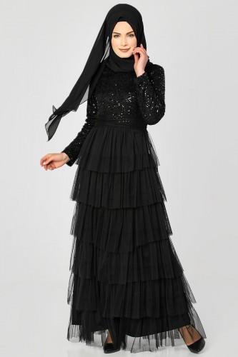 - Eteği Kat Detaylı Pul Payetli Abiye-1455 Siyah