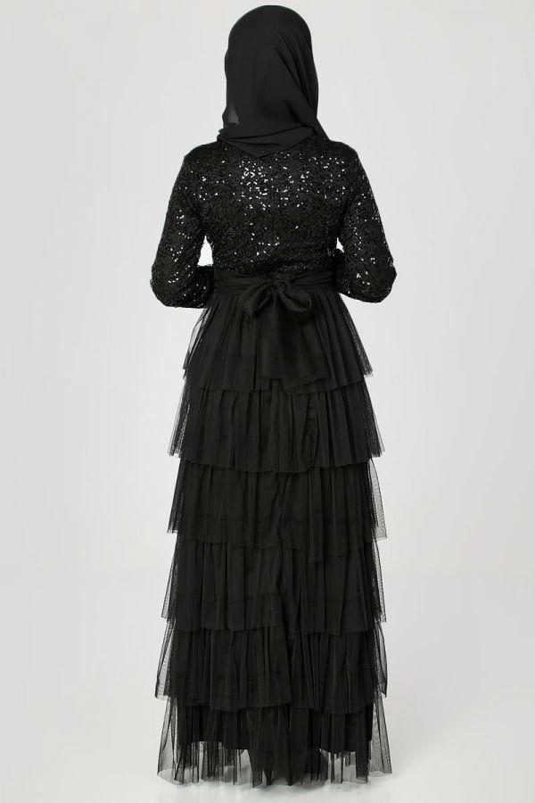 Eteği Kat Detaylı Pul Payetli Abiye-1455 Siyah