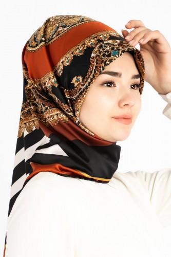 - Etnik Desen ve Çizgi Detaylı Eşarp-1138 Kiremit (1)