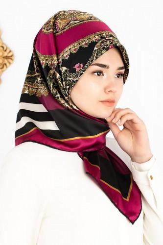 Modaebva - Etnik Desen ve Çizgi Detaylı Eşarp-1138 Mürdüm (1)