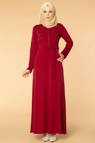 Modaebva - Fermuarlı Güpür ve İnci Detay Sandy Elbise-1728 Bordo
