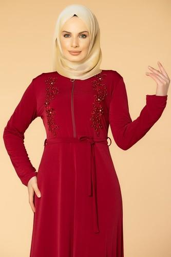 Modaebva - Fermuarlı Güpür ve İnci Detay Sandy Elbise-1728 Bordo (1)