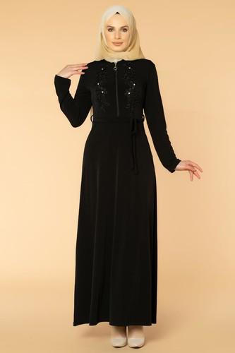 Modaebva - Fermuarlı Güpür ve İnci Detay Sandy Elbise-1728 Siyah