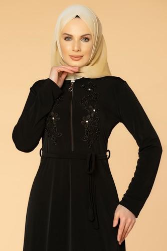 Modaebva - Fermuarlı Güpür ve İnci Detay Sandy Elbise-1728 Siyah (1)