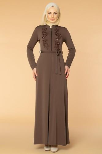 Modaebva - Fermuarlı Güpür ve İnci Detay Sandy Elbise-1728 Vizon