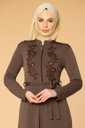 Modaebva - Fermuarlı Güpür ve İnci Detay Sandy Elbise-1728 Vizon (1)