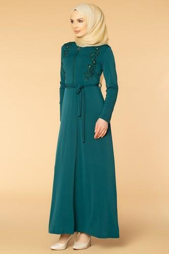 Modaebva - Fermuarlı Güpür ve İnci Detay Sandy Elbise-1728 Zümrüt