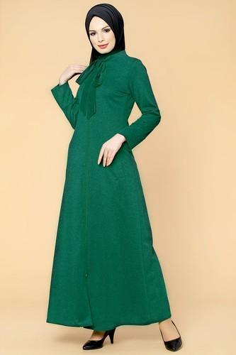 Modaebva - Flarlı Cepli Ecrin Ferace-1015 Yeşil