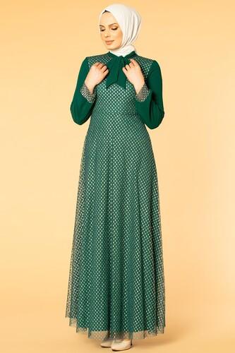 Modaebva - Flarlı Kloş Tesettür Abiye-5007 Zümrüt yeşili