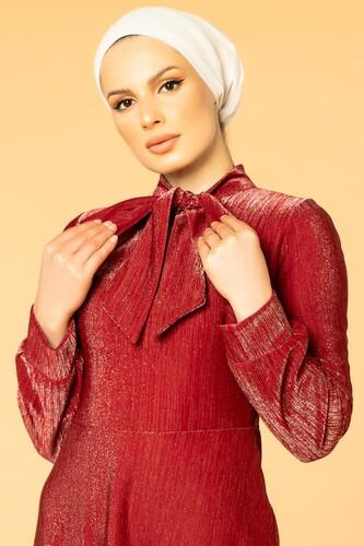 Modaebva - Flarlı Simli Tesettür Elbise-5008 Bordo (1)