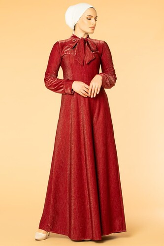Modaebva - Flarlı Simli Tesettür Elbise-5008 Bordo