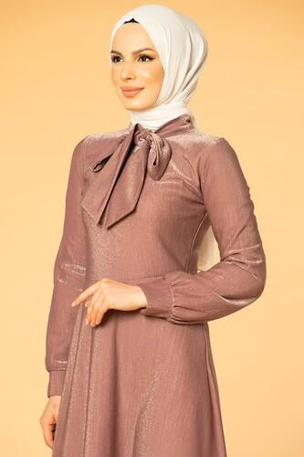 Modaebva - Flarlı Simli Tesettür Elbise-5008 Gülkurusu (1)