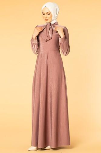 Modaebva - Flarlı Simli Tesettür Elbise-5008 Gülkurusu
