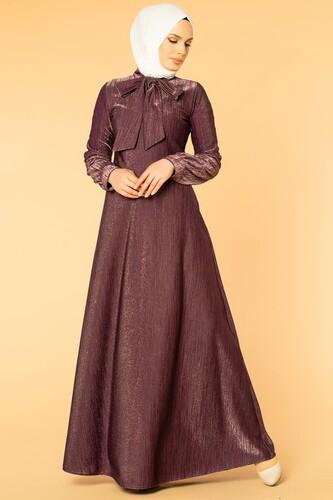 Modaebva - Flarlı Simli Tesettür Elbise-5008 Mor