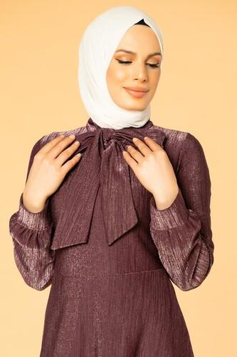 Modaebva - Flarlı Simli Tesettür Elbise-5008 Mor (1)