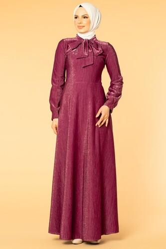 Modaebva - Flarlı Simli Tesettür Elbise-5008 Mürdüm