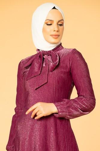 Modaebva - Flarlı Simli Tesettür Elbise-5008 Mürdüm (1)