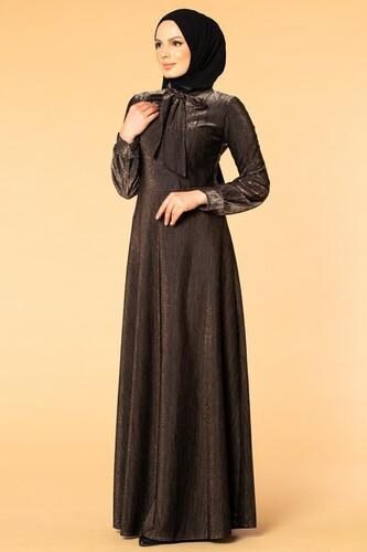 Modaebva - Flarlı Simli Tesettür Elbise-5008 Siyah