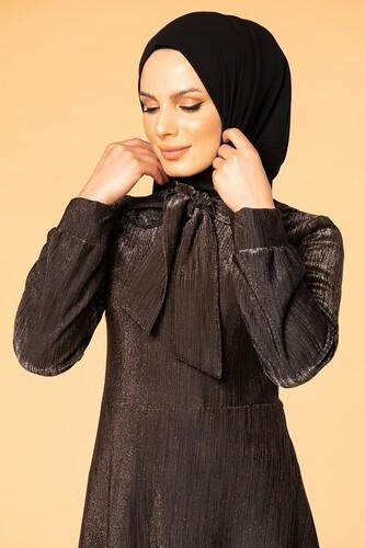 Modaebva - Flarlı Simli Tesettür Elbise-5008 Siyah (1)