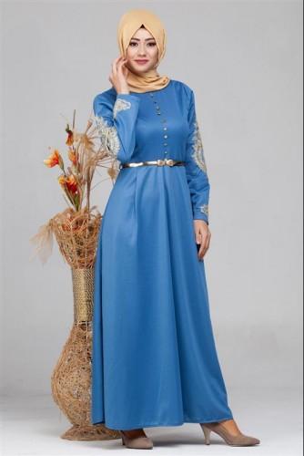 - Güpür Detay Kemerli Tesettür Elbise-4003 Mavi