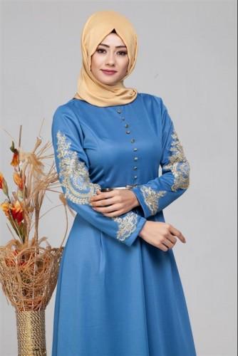 - Güpür Detay Kemerli Tesettür Elbise-4003 Mavi (1)