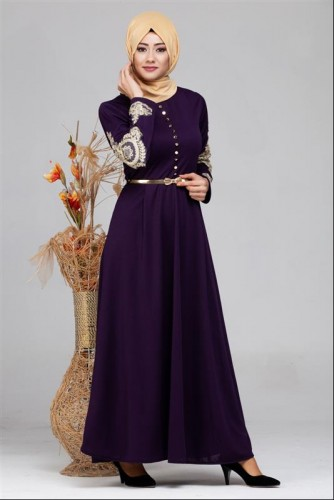 Modaebva - Güpür Detay Kemerli Tesettür Elbise-4003 Mor