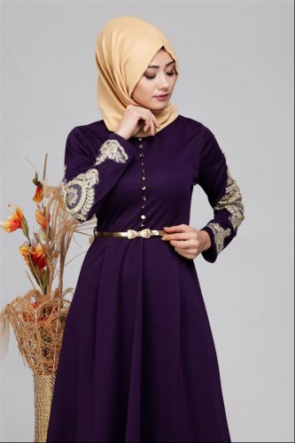 Modaebva - Güpür Detay Kemerli Tesettür Elbise-4003 Mor (1)