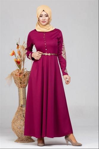 - Güpür Detay Kemerli Tesettür Elbise-4003 Şarabi