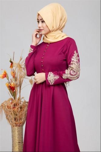 - Güpür Detay Kemerli Tesettür Elbise-4003 Şarabi (1)