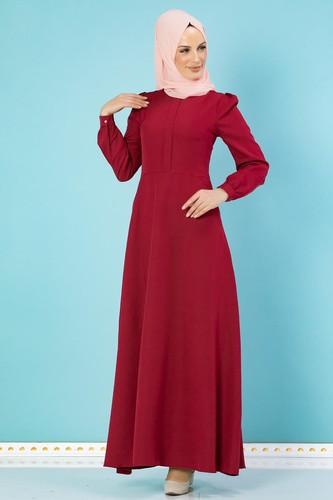 Modaebva - Hakim Yaka Cepli Tesettür Elbise-1108 Bordo