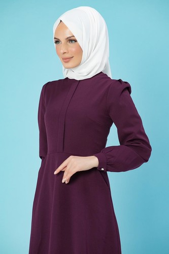 Modaebva - Hakim Yaka Cepli Tesettür Elbise-1108 Mürdüm (1)
