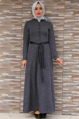 Modaebva - Hakim Yaka Önden Düğmeli Elbise-4073